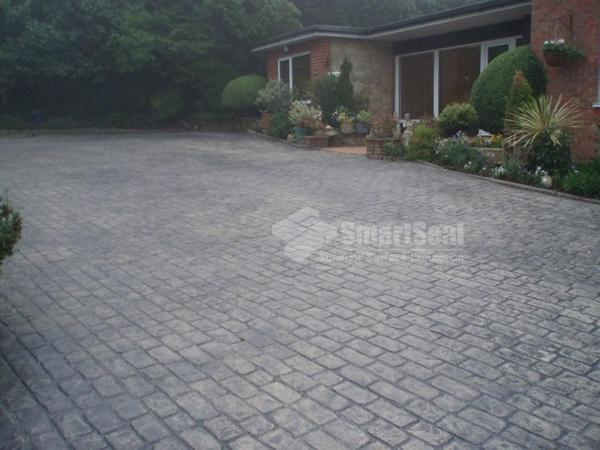 Imprinted driveway before coloring and sealing